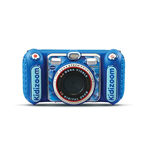VTech Kidizoom Duo DX Azul, Cámara de Fotos Infantil 1 en 1, filtros dinámicos - Versión FR