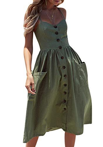 OMZIN Damen Kleid Elegant Schulterfrei Tunikakleid T-Shirt Strandkleid mit Knöpfen Ärmellos Sommerkleid Strandkleid A-Linie Grün XXL