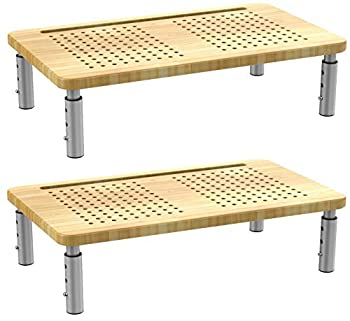 Husky Mounts Monitor Riser Laptop Stand Adjustable Legs Stackable 15.75  x 9.25  x 6  Max Height Bamboo and Brushed Steel Set of 2