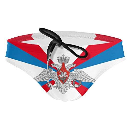 YISHOW Flag of The Ministry of Defence of Russian Men Briefs Bikini Swimwear Sexy Low Rise Swimsuit with Drawstring