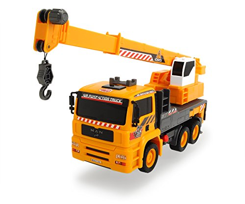 "Dickie Toys Air Pump Action Mobile Crane Truck, 12"" Yellow"