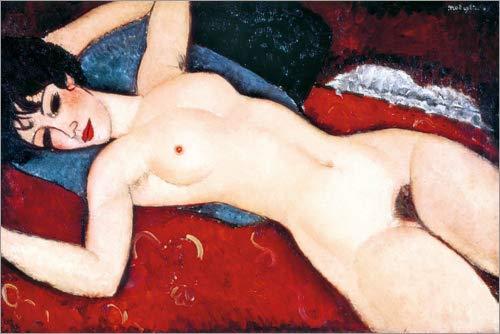 Posterlounge Leinwandbild 100 x 70 cm: Akt, schlafend von Amedeo Modigliani/Everett Collection - fertiges Wandbild, Bild auf Keilrahmen, Fertigbild auf echter Leinwand, Leinwanddruck