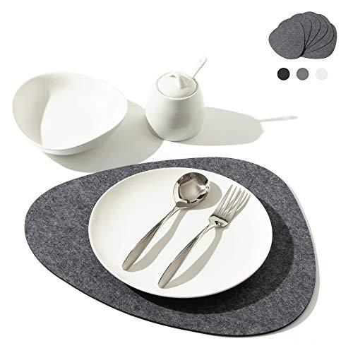 chillify Filz-Platzmatten im edlen Stein-Design - Filz-Tischmatte im 6er Set - rutschfest, hitzebeständig, Maschinen-waschbar - Grau