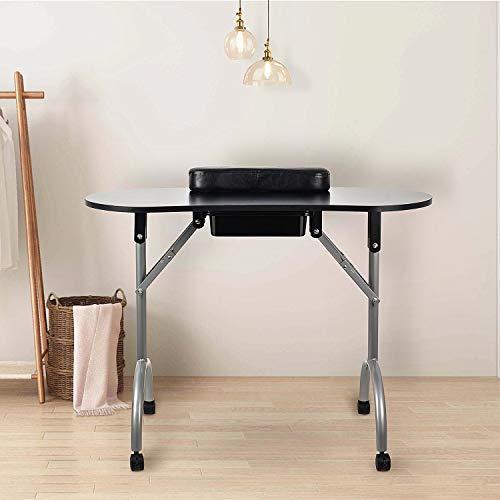 Portable Manicure Table Foldable Nail Beautician Desk Workstation Arm Rest & Drawer Salon Spa Nail Equipment Black