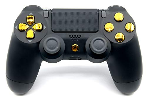 Black/Gold PlayStation 4 V2 (new version) Rapid Fire Modded Controller for Major FPS games: Quick Scope, Drop Shot, Auto Run, Sniped Breath, Mimic, More + FREE Protective Black Case (Project Design)