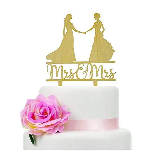 Rustic Wooden Mrs & Mrs Wedding Cake Topper, Lesbian Wedding Cake Topper, Wedding/Anniversary Gift for Lesbian, DIY Cake Topper, Lily Wedding Cake Topper