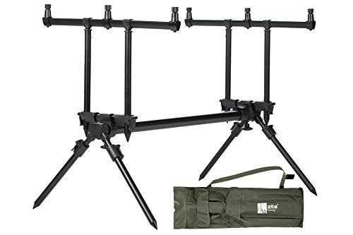 Zite Fishing Rod-Pod Ruten-Halter 3 Ruten - Aluminium Rutenständer & Angel-Ständer mit Tasche zum Karpfen-Angeln