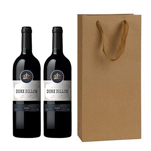 IPENNY 10 bolsas de botella para 2 botellas bolsas de regalo para el vino, con asa, bolsas de papel Kraft y bolsas de papel