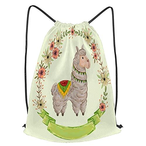YMWEI Impermeable Bolsa de Cuerdas Saco de Gimnasio lama animal guirnalda floral estilo acuarela Deporte Mochila para Playa Viaje Natación