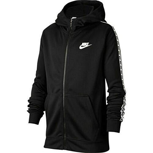 NIKE Sportswear Big Kids (Boys) Sudadera con capucha con cremallera completa (negro/blanco, mediano)