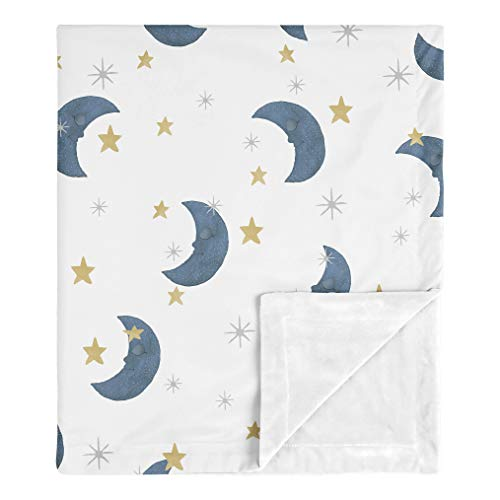 Sweet Jojo Designs Moon and Star Baby Boy or Girl Blanket Receiving Security Swaddle for Newborn or Toddler Nursery Car Seat Stroller Soft Minky - Navy Blue and Gold Watercolor Celestial Sky