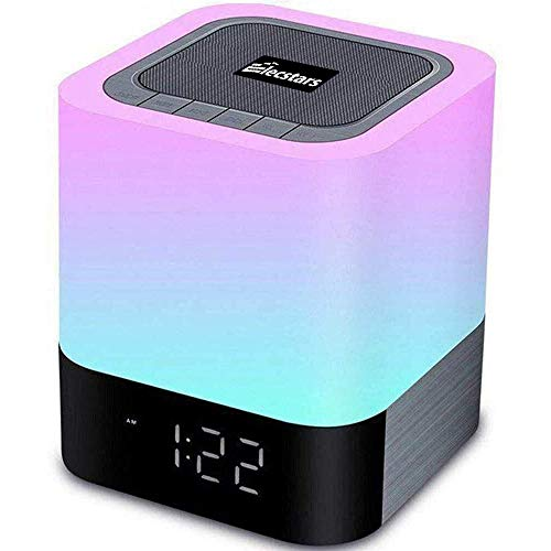 Elecstars Touch Bedside Lamp, Bluetooth Speaker with Dimmable Warm Night Light, Alarm Clock, MP3 Music Player, Table Lamp with 4000mAh Battery, Support SD Card, Room Decor.