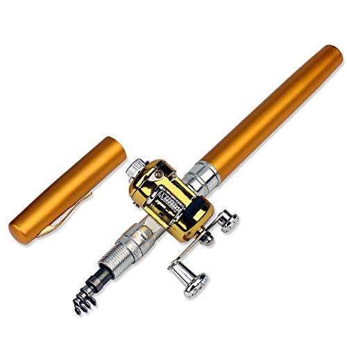 BIYI Mini Tragbare Stifttyp Angelrute Teleskop Angelrute Taschenformat Stange Outdoor Angelgerät Zubehör Gold Farbe