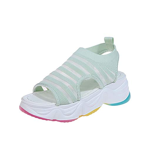 YYLP Women's Rainbow Sandals Thick-Soled Daddy Sports Fish Mouth Sandals Sponge and Student Sandals