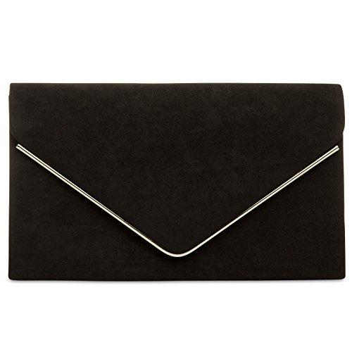 Caspar TA356 Damen elegante Textil Velours Envelope Clutch Tasche/Abendtasche mit langer Kette, Farbe:schwarz, Größe:One Size