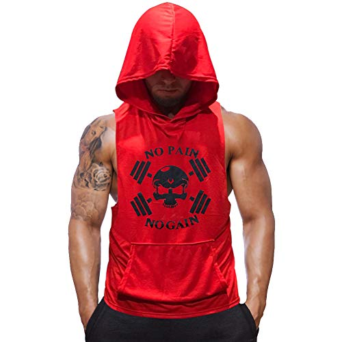 SZKANI Mens Skull Print Sleeveless Fitness Vest Bodybuilding Stringers Workout Tank Tops (Large, Red(Double Dumbbell))