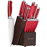 Emojoy Knife Set, 15-Piece Kitchen Knife Set with Block Wooden, Red Handle for Chef Knife Set, Kitchen Knives Sharpener and Scissors German Stainless Steel