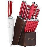 Emojoy Messerblock, Messerset, 15-TLG Küchenmesser, Messerblock mit scharfen Messer, Holzblock, Profi Kochmesser Set, mit Wetzstahl, Rot