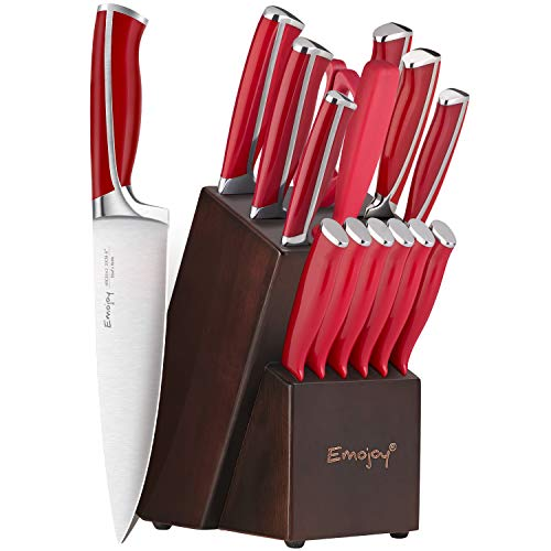 Emojoy Knife Set, 15-Piece Kitchen Knife Set with Block Wooden, Red Handle for Chef Knife Set, Kitchen Knives Sharpener and Scissors German Stainless Steel, Mother's Day Gift