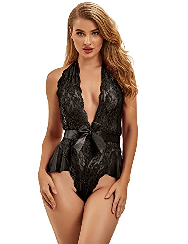 ohyeahlady Body Mujer Erótica de Encaje Transparente Talla Grande Lencería Bodysuit Escote V (Negro, XL-XXL)