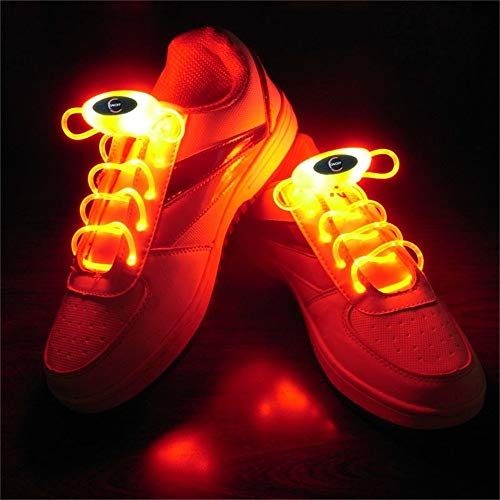 Holiday Birthday Party Decoration Lights 1 Pair 2W 80cm Glow Shoelaces LED Sport Shoe Laces Glow Stick Flash Neon Lucent (Color : Red light)