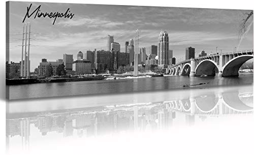 Minneapolis Skyline Wall Art Decor Black and White Panoramic Cityscape Picture Canvas Prints Poster Artwork Painting for Bedroom Office Bedroom Living Room Stretched Framed Ready to Hang 13.8'x47.3'