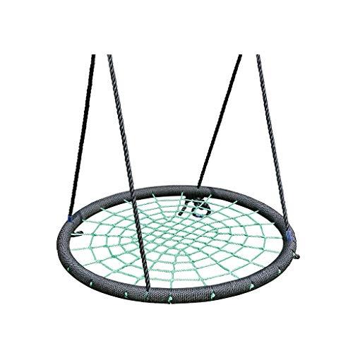 Schommeln spinnennetschommel nylon touw veilig en duurzaam afneembare hangstoel verstelbare hangmatstoel met accessoires voor binnen en buiten stoel schommelstoel Green-a