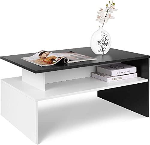 Mesa Centro Mesa de Café Mesa Auxiliar Mesa Baja Salón con 2 Estantes para Dormitorio Oficina Salón Blanco y Negro Madera 90x50x43cm