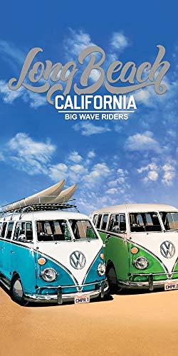 Volkswagen Badetuch VW Bulli Cut Blau Grün 75 x 150 cm 100% Baumwolle in Veloursqualität Camper-Van Bus T1 Strandlaken Strandtuch Handtuch Badelaken Duschtuch Saunatuch Long Beach Retro Motiv 026