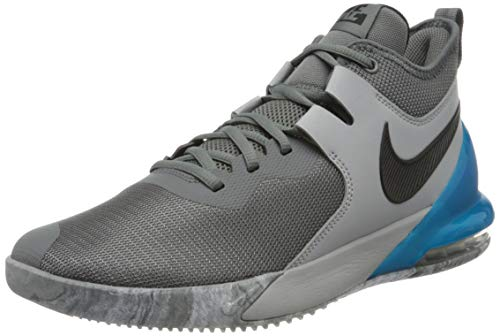 Nike Mens AIR MAX Impact Basketball Shoe, Smoke Grey/Black-Lt Smoke Grey-Blue Fury, 43 EU