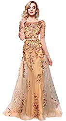 Meier Illusion Long Sleeve Embroidery Prom Formal Dress