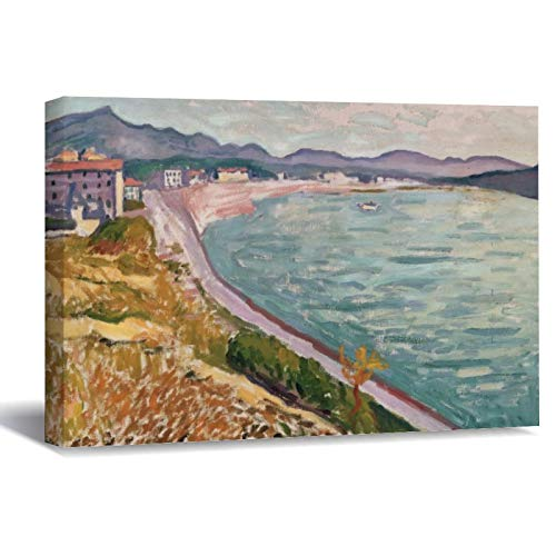 View of Saint Jean De Luz by Albert Marquet Albert Canvas Picture Painting Artwork Wall Art Poto Framed Canvas Prints for Bedroom Living Room Home Decoration, Ready to Hanging 8'x12'