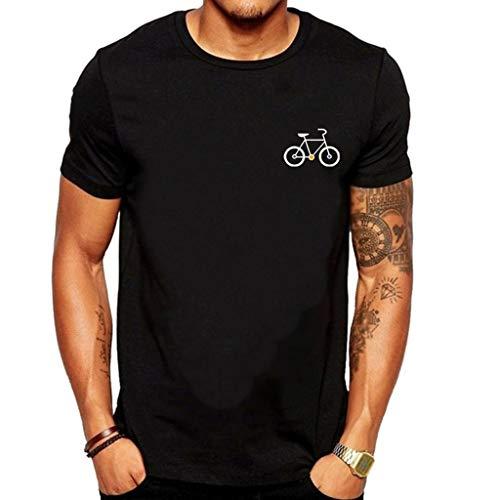 Yowablo T-Shirt Top Herren Neue Sommer Cartoon Fahrrad Muster Gedruckt Bluse Top (M,2Schwarz)