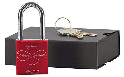 LAUBLUST Liebesschloss mit Gravur und Schlüssel inkl. Geschenkbox - Unendlichkeit - Personalisiertes Geschenk Paare