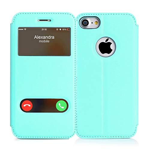 FYY Hülle für iPhone se 2020/ iPhone 7 Handyhülle,Tasche Hülle Flip Case Leder Schutzhülle Ledertasche Cover, mit Ständer/Magnetverschluss Case für iPhone 7 Handytasche -Mintgrün