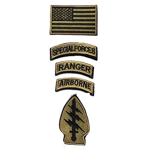 Militär-Patches, taktische amerikanische Flagge, Aufnäher, Spezialeinheiten Ranger Airborne Abzeichen, 5 Stück, mit Klettverschluss bestickt, Morale Patch (Armeegrün)