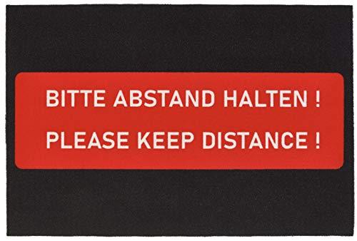 Hanse Home Fußmatte-Bitte Abstand halten-Türmatte Schmutzfangmatte Fußabtreter Aussen/Innen (60 x 90 cm, rutschfest, strapazierfähig, pflegeleicht), Schwarz/Rot