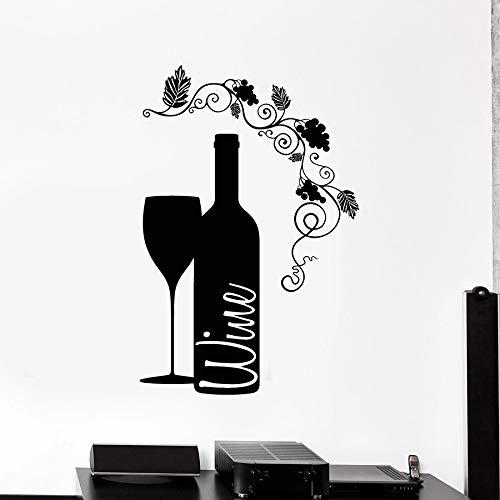 Wein Wandtattoo Becher Glasflasche Weinbar Weingut Home Interior Decoration Vinyl Fenster Aufkleber Blumenkunst Wandbild 57x84 cm