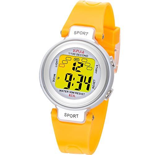 Kinder Digitaluhren, 7 Farben LED-Licht Kinder Sport Armbanduhr Jungen Wasserdicht Kinderuhr mit Alarm Stoppuhr, Kinderuhren Outdoor Armbanduhr für Jungen Mädchen (Gelb)