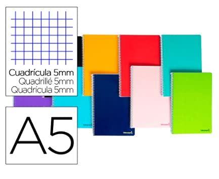 Cuaderno espiral liderpapel a5 micro smart tapa blanda 80h60gr cuadro 5mm 6 taladros colores surtidos