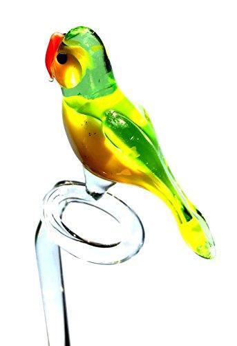 Orchideenstab Papagei Grün Gelb - Blumenstab aus Glas Mit Vogel Figur - Rankhilfe Gartendekoration Blumen