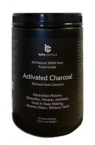 Large - Less-Mess Jar Coconut Activated Charcoal Powder - Bulk - Food Grade, Kosher, NSF - Teeth Whitening, Facial Scrub, Soap Making