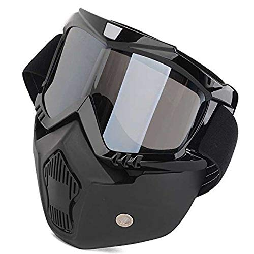 Spidy Moto Storm Trooper Detachable Goggles Nose Face Mask (Black)