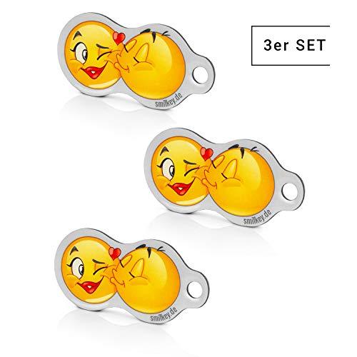 Code24 3 Stück Einkaufswagenlöser Smilkey KISS, Schlüsselanhänger mit Einkaufschip & Schlüsselfinder, inkl. Registriercode für Schlüsselfundservice, multifunktionale Einkaufswagenchips, Key-Finder