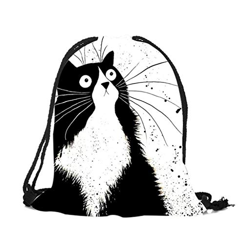 XINGYUE Lindo gato impresión cordón gimnasio bolsa escuela biblioteca natación viajes adultos adolescentes deportes mochila, E, 11.81 x 14.96in