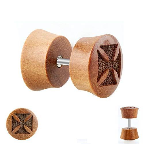 Piercing Fake Plug - Holz - Braun - Kreuz [2.] - 10 mm