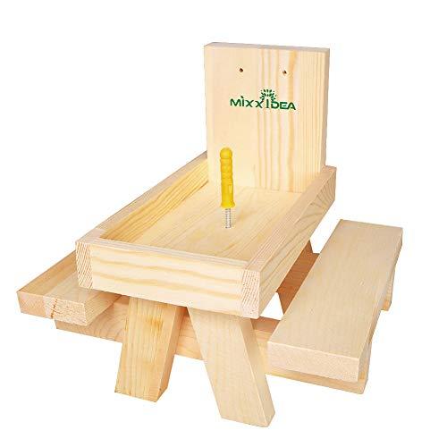 MIXXIDEA Cedar Eichhörnchen Snacker Feeder Eichhörnchen Feeder Picknicktisch aus natürlichem, widerstandsfähigem Zedernholz grüne Bank SS107-Zeder