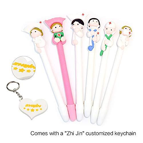Set da 12 penne a sfera Zhi Jin con simpatica decorazione in ceramica, inchiostro nero, per la scuola e l'ufficio, idea regalo 6Pcs/Set Doctor and Nurse