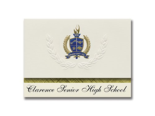 Signature Announcements Clarence Senior High School (Clarence, NY) Graduation Ankündigungen, 25 Stück, Gold & Blau Metallic Folie, 15,9 x 29 cm, Creme (PAC_BASICPres_HS25_120616_206044)
