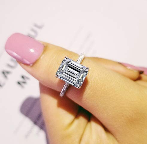 Cutedoumiao Jewelry 3 Carat CZ Engagement Rings Simulated Diamond Engagement Ring for Women Silver Wedding Jewelry (9)